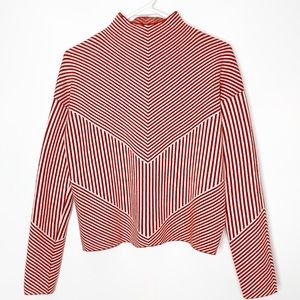 Cynthia Rowley Small Orange Striped Sweater